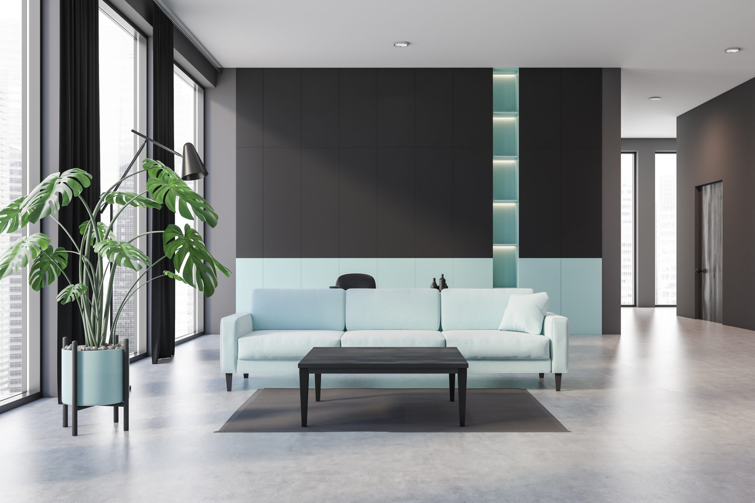 Interior of stylish living room with black and green walls, concrete floor, green sofa and coffee table. 3d rendering